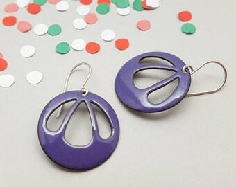 Purple Dangle Earrings with Sterling Silver Earwires - Modern Enamel Jewelry - Gift for her / Bell Flower