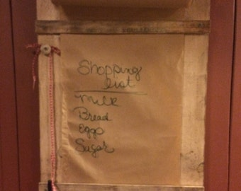 Primitive wooden grocery list, todo list, noted  or quote of the day
