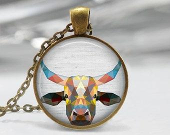 Steer Pendant, Geometric Cattle Necklace, Steer Art Jewelry, Polygon Steer Pendant, Steer Jewelry, Steer Art Pendant, Bronze, Silver, 034
