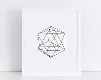 Black and White Minimalist Geometric Art Print, Linear Wall Decor
