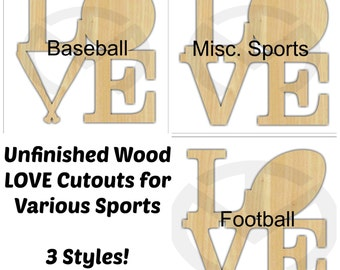 LOVE Wall/Door Decoration with Sports Theme - 01595- Unfinished Wood Laser-Cutout, Various Styles & Sizes, Baseball, Basketball, Football