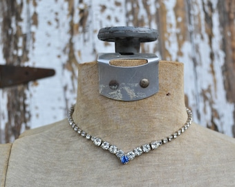 Vintage Rhinstone Necklace with Blue Stone - Costume Jewelry Choker