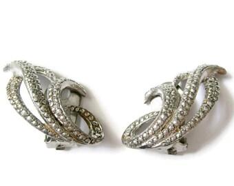 Vintage faux marcasite clip on earrings, vintage clip on earrings, silver clip on earrings, classic clip ons, vintage earrings