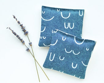 Organic Lavender Sachets in Peacock Blue and Natural Linen Set of 2 Lavender Scented Pillows Natural Home Arroyo Fabric Mother's Day Gift