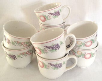 Boots Orchard cups and saucers - set of seven tea cups