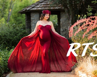 Ready to ship Maternity Dress-Maternity Gown for Photo Shoot-Long Maternity Dress-Maxi Gown-Maternity Dress for Baby Shower-FRANCESCA-RTS