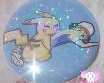 Kawaii Cute Pokemon Pikachu Leak A Chu Nintendo Ash Ketchum Holographic 2.25 Inch Button Pins