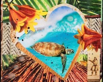 NEW Giclee, HONU LOVE, 8x8 and Up, Ocean, Ocean Art, Sea Turtle, Surf Art, Hula,Ocean Art, Love, Sea, Beach Art