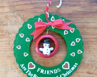 Vintage Wooden Wreath and Snowman Christmas Ornament
