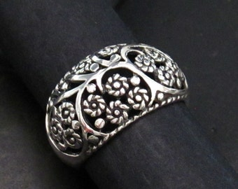 Domed Tapered Sterling Silver Band Ring with Floral Accents - Silver Floral Ring - Multiple Sizes - Cut Through Design