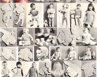 Selection of designs for babies and toddlers in Patons Yarns , knitting and crochet ebook vintage
