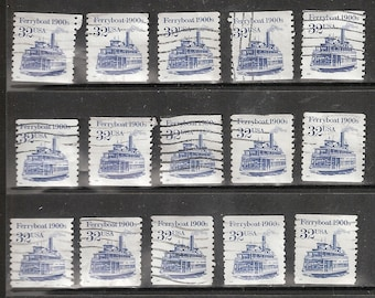 25 FERRY BOAT Used & Cancelled U.S. 32c Postage Stamps  (Blue and White in Color)