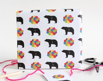 Rainbow Balloons Bear Wrapping Paper / Birthday Wrapping paper / Birthday Gift Wrap / Children's Wrapping paper