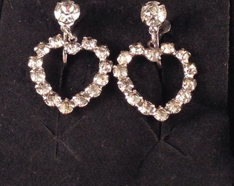 Vintage Rhinestone Silver Heart Screw On Earrings .75 Inches long and .5 Inches Wide, Pronged Rhinestones, Previously 25 Dollars ON SALE