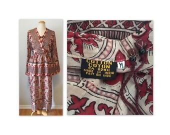 Vintage des années 70 gaze robe S M Semi transparent à la main bloqué NOS impression