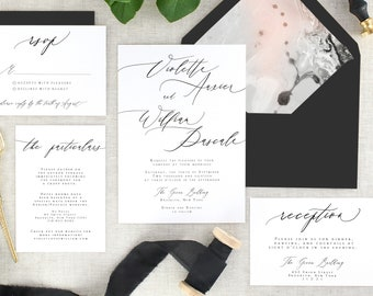 Calligraphy Wedding Invitation Suite Printed - Modern Wedding Invitation Black and White -  Marble Wedding Invitation Simple - Set of 10