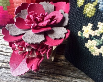 """Leather Flower Cuff on Silver Leather with 3 Pink Blooms Size Medium (7"""" - 7.5"""") Wedding Prom Garden Party by Stacy Leigh"""