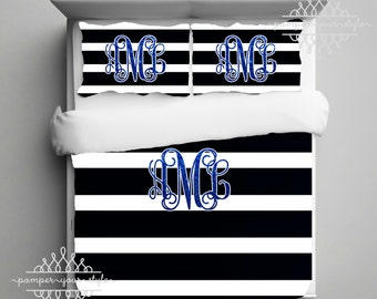Glitter Monogram Bedding - Black and White Stripe Dorm Comforter - Striped Dorm Duvet - College Bedding Set - Any Color Glitter or Stripes!