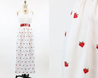 70s Halter Dress Small / 1970s Vintage Open Back Maxi Dress / Strawberries Forever Dress
