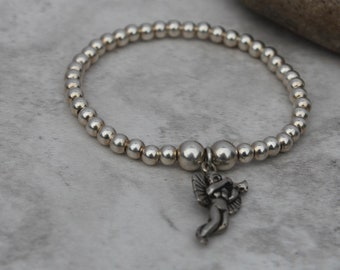 Silver Cupid Bracelet - Romantic Gift - Romantic Jewellery - Stackable Bracelet - Girlfriend Gift - Gift For Her - Anniversary Gift