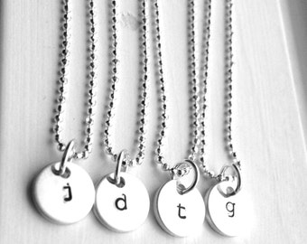 Tiny Initial Necklace, Sterling Silver Initial Necklaces, Small Initial Necklace, Monogram Necklace, Initial Pendant, Letter Charm Necklace