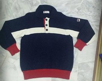Vintage Fila sweater knitwear snow time/jumper/blue / Large/fila sport/fila bj/fila international