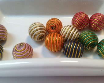 12 Wax Cord Beads, Round, Mixed Color, about 14mm in diameter, hole: 3mm