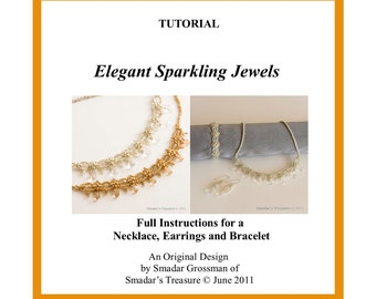 Beading Tutorial, Elegant Sparkling Necklace, Bracelet and Earrings Set. Pattern with Crystals and Seed Beads. Wedding Jewelry Making How To