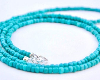 Long layering necklace - Turquoise layering necklace - Long turquoise necklace - Small beaded necklace - Boho necklace