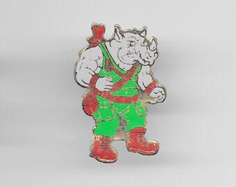 True Vintage ROCKSTEADY Teenage Mutant Ninja Turtle Pin, Enamel Pin, Pinback, Hat Pin, 80s, 90s, Sonic, TMNT, Shredder, Bebop, Splinter