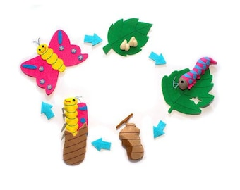 Life Cycle of the Butterfly Science Felt Set/Science Activity Board/Sensory Tool/Eco-Friendly/Ready to Ship