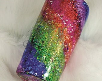 Rainbow Swirl glitter tumbler ~ 10oz, 20oz, 30oz ~ personalizing avail ~