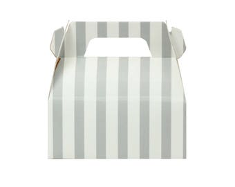 10 Gray Striped Gable Boxes Gray Party Boxes Grey Baby Shower Boxes Grey Wedding Boxes Gable Gift Boxes Mini Gable Boxes Grey Party Favors
