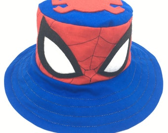 Spiderman bucket hat, superhero, 6 months to adult, fun clothes, fun summer hat, funky hat, sun protection, handmade
