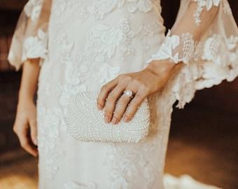 Beaded Pearl Clutch Bag, Bridal Clutch, Wedding Clutch, White Clutch Bag, Ivory Clutch Bag, Beaded Clutch Bag, Wedding Purse, White Purse