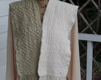 Handwoven cotton scarves, Organic cotton scarves. Textured scarves,,  Fringed scarves, Men's scarf, Women's scarf, USA-grown cotton,