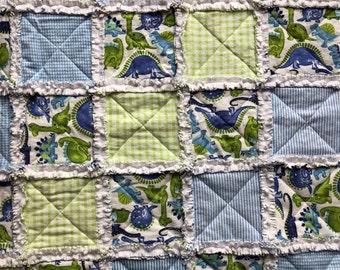 Baby Rag Quilt, Dinosaur, Handmade Blue & Green blanket, baby shower gift, girl blanket, boy blanket, gender neutral, nursery, crib blanket