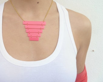 Pink geometric necklace, Neon pink necklace, Rubber pink jewelry, Minimal jewelry, Industrial style necklace, Geometric, Pyramid necklace