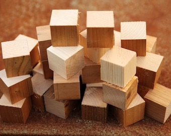 Wood Blocks, DIY Wood Cubes, Wood Cubes, Solid Wood Blocks,  set of 18,  natural Wooden Blocks, Natural Wood Blocks for Paint