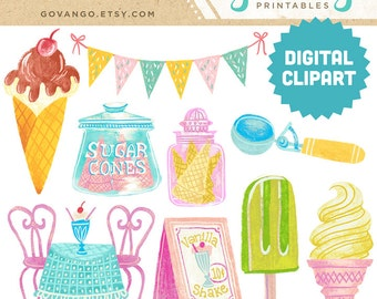 ICE CREAM PARLOR Digital Clipart Instant Download Illustration Retro Pastel Cone Sugar Popsicle Sundae Sprinkles Party Birthday Clip Art