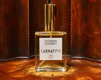 Carnation Perfume - Using essential oils extracted from fresh flowers, a true classic, deep floral notes with a hint of spice! Perfect Gift!