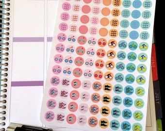 Triathlon Sticker, Run, Bike, Swim Dot Stickers, Fits all Planners, Pastel and Rainbow Option, Planner Stickers, Calendar Stickers