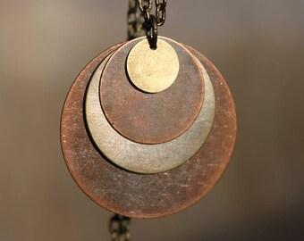 Mixed Metal Pendant Necklace Copper Necklace Pendant Boho Necklace Bohemian Necklace Copper Necklace Pendant Bohemian Jewelry Boho Jewelry