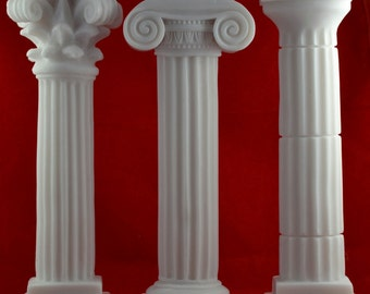 3 Set Column Corinthian, Ionic, Doric Set Pedestal Temple Ancient Marble White NEW