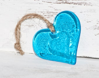 Turquoise Glass Heart with Embossed Heart Centre