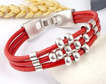 Kit tutorial bracelet coral red leather and silver mother's day