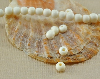 40 Bone Beads Round White Ivory color 3mm - 4mm Natural Beads