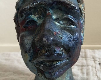 Blue Faced Ceramic Head- Raku
