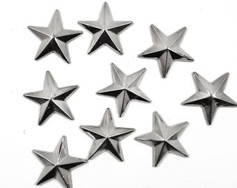 Iron On Silver Stars Nail heads Studs, DIY Silver Stars for Iron on Hot Fix