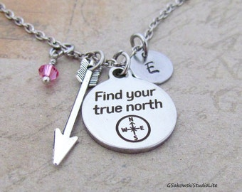 Find your true north Compass Arrow Charm Personalized Hand Stamped Initial Birthstone Tru North Arrow Charm Necklace